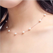 TJP Trendy Female Pearl Pendants Necklace For Girl Party Accessories Top Quality 925 Sterling Silver Choker Necklace Women Bijou цена