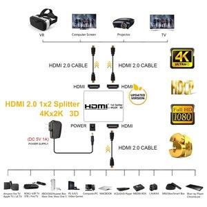 Image 3 - 2020 Nieuwe 4K 60Hz Hdmi Splitter 2.0 Hdmi 2.0 Splitter 1X2 Splitter Hdmi 2.0 4K ondersteuning Hdcp 1.4 Uhd Versterker Voor PS4 Projector
