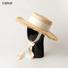 USPOP 2019 New summer hats thickened raffia sun hand-woven lace-up straw rough edges flat top beach hat