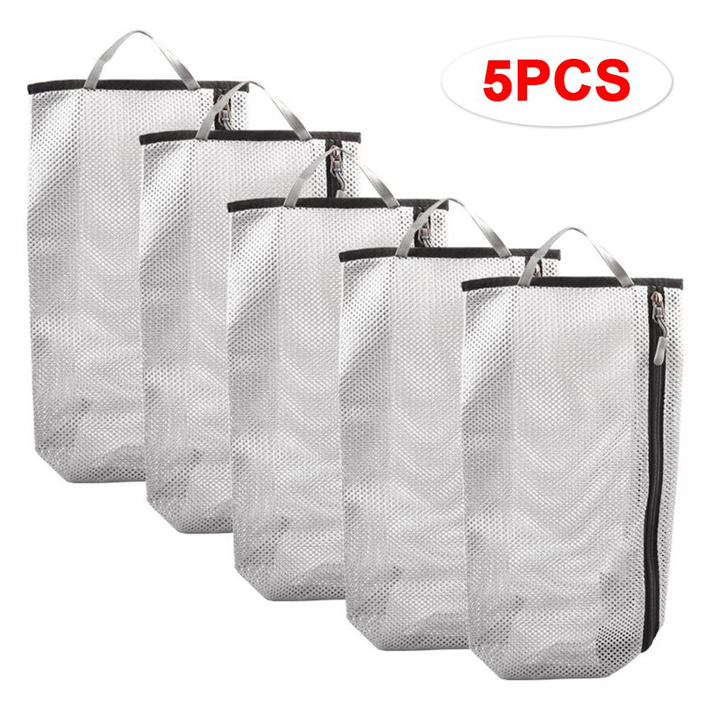 5PCS Outdoor Travel Mountaineer Shoes Bag Cover Breathable Mesh Clothing Storage Bags Portable Dust-proof Waterproof Organizers