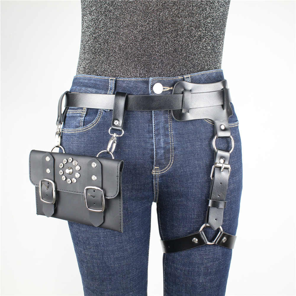 CEA.HARNESS Single Belt Leg Bondage Garters Sexy Leather Harness With Creative Waist Bag Adjustable Suspenders For Female Erotic