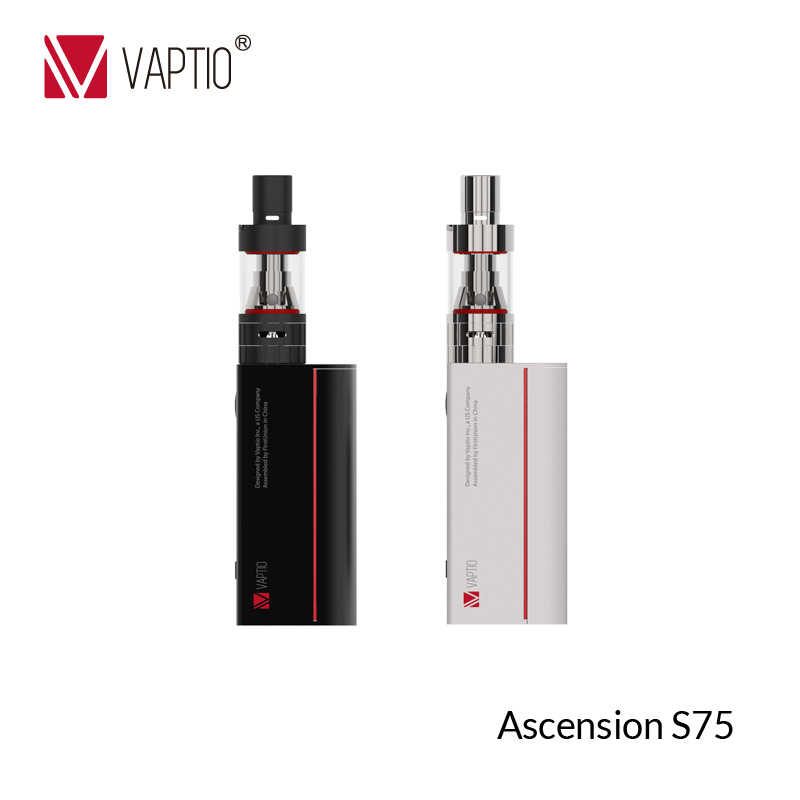 75W 18650 Box Mod Kit Vaptio S75 electronic cigarette Starter Vape Kit with 0.91 inch Screen & 3.0 ml Vape Atomizer Vaporizer