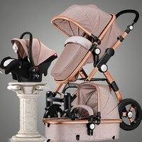 Новый стиль 3 в 1 детская коляска с автокресла для новорожденных зрения складной коляски путешествия коляска