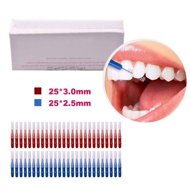 bacd25c66 50 pcs Escovas Interdentais Palito de Dente Fio Dental Cabeça Oral  Assistência Odontológica Dentes Escova de