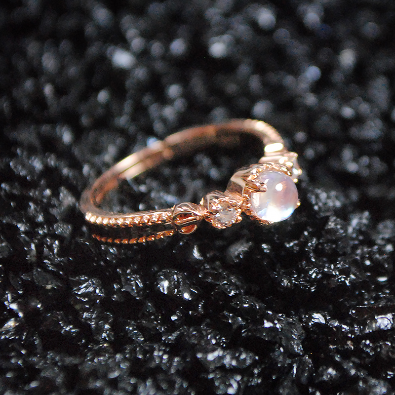 hot elegant women rings couple ring moonstone silver rings trendy rose gold jewelry rare Crystal Ring