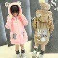 Meninas do bebê Roupas outerwear além de veludo espessamento outono e inverno crianças dos desenhos animados urso falso top de médio-longo Casacos & casacos