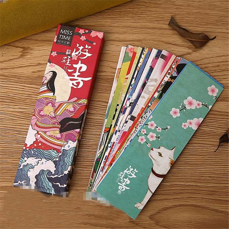 Japanese-Style Paper-Bookmark School-Materials Vintage Kawaii for Kids 30pcs/Lot Cute