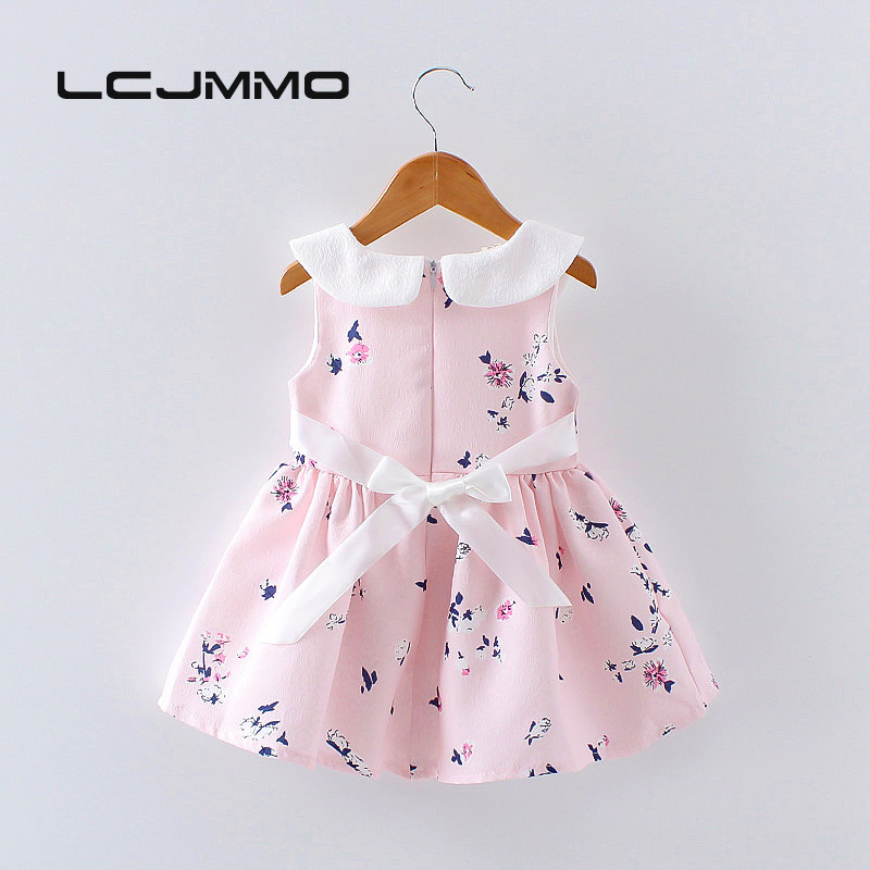 LCJMMO 2017 Baby Girl Dress Summer Floral Princess Party Cute Cotton Baby Girls Clothing Kids Lolita bow-knot Dresses For 6-24M