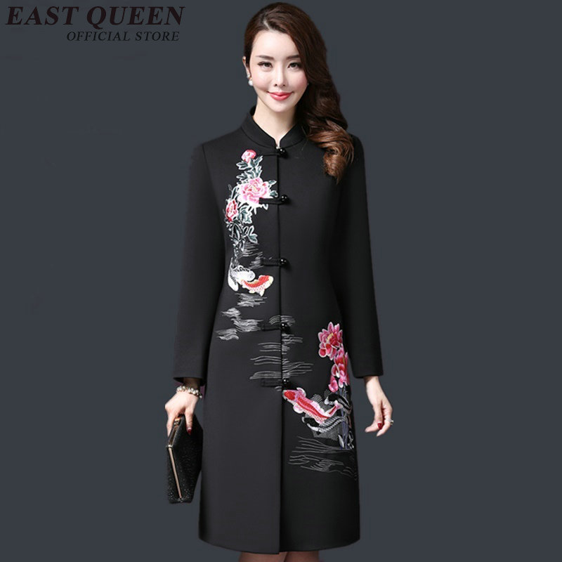 Vintage embroidery traditional chinese clothing women autumn jacket 2018 new arrivals long coat 3XL 4XL 5XL