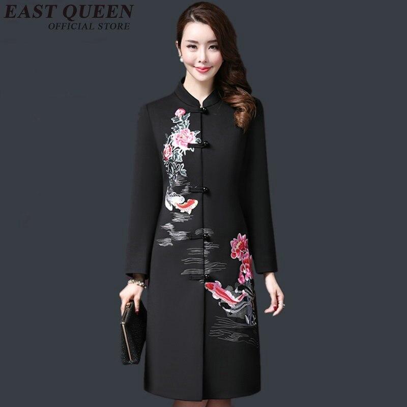 Vintage bordado chino tradicional ropa de mujer chaqueta de Otoño de 2018 recién llegados abrigo largo 3XL 4XL 5XL AA2893 YQ