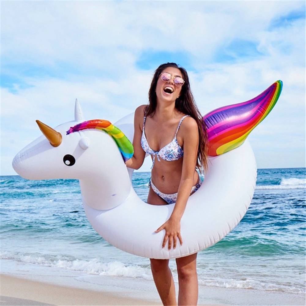 Inflatable Unicorn Swimming Ring Inflatable Circle Ring Bed Buoy Kickboard Summer Inflatable Unicorn Swim Pool Party Fun
