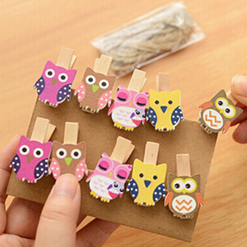Clothes Pegs: 10pcs/pack Mini owl Wooden Photo Paper Peg Pin Clothes pin Craft Postcard Clips Home Crafts Decoration With Rope