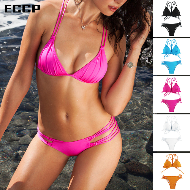 5a8b4a47d712c 2018 ECCP Swimsuit Summer Sew Hot Sexy Pure Color Women Black Pink Bikini  set Bandage brazilian multi-color swimwear bikini S-XL