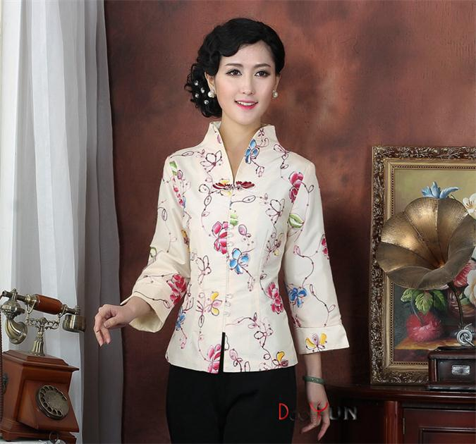 b46692a28 Fashionb Ivory Chinese Women's Silk Embroidery Jacket Vintage Classic Tang  Suit Floral Slim Coat Size S M L XL XXL XXXL NJ165-in Basic Jackets from  Women's ...