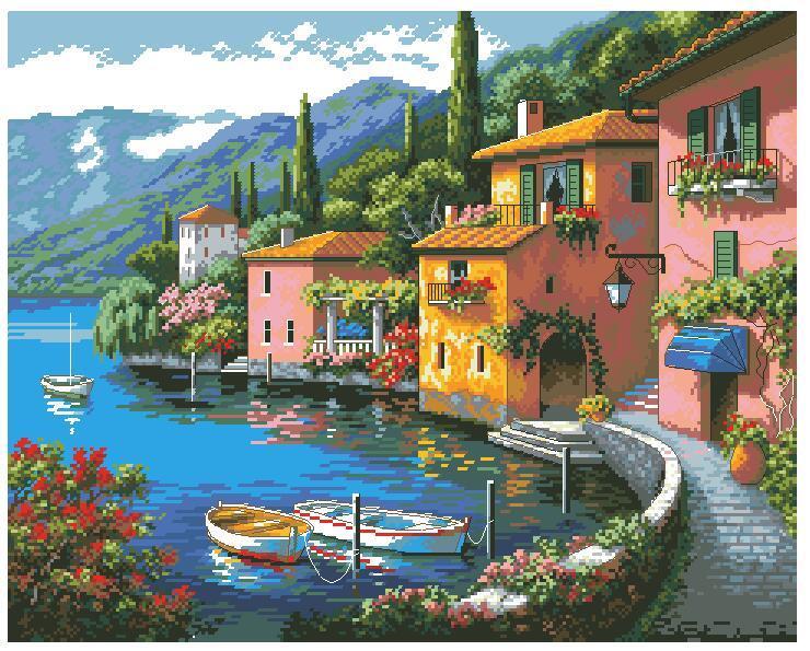 Beautiful Counted Cross Stitch Kit Lakeside Village Town Home City Boat Port Lake Mountain Dim 35285 70-35285 53x44cm, 14CT
