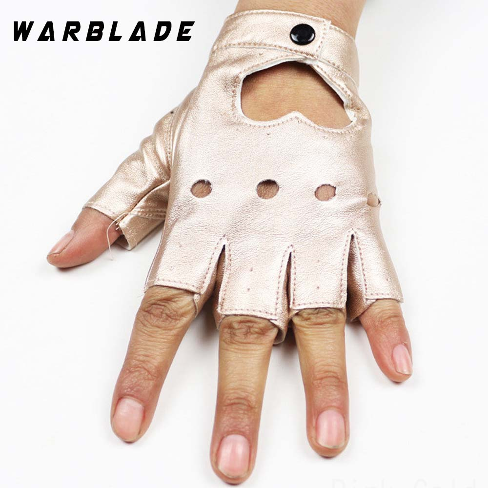 WarBLade Fashion Women's Leather Gloves Fingerless Star Hollow Gloves Party Show Breathable Half Finger Mittens For Women