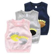 New 2017 Autumn Winter 100% Cotton Baby Cardigan Boy's V-neck Sweater Vest Kids Waistcoat Vest Girls Boys Sweaters For 2-5T