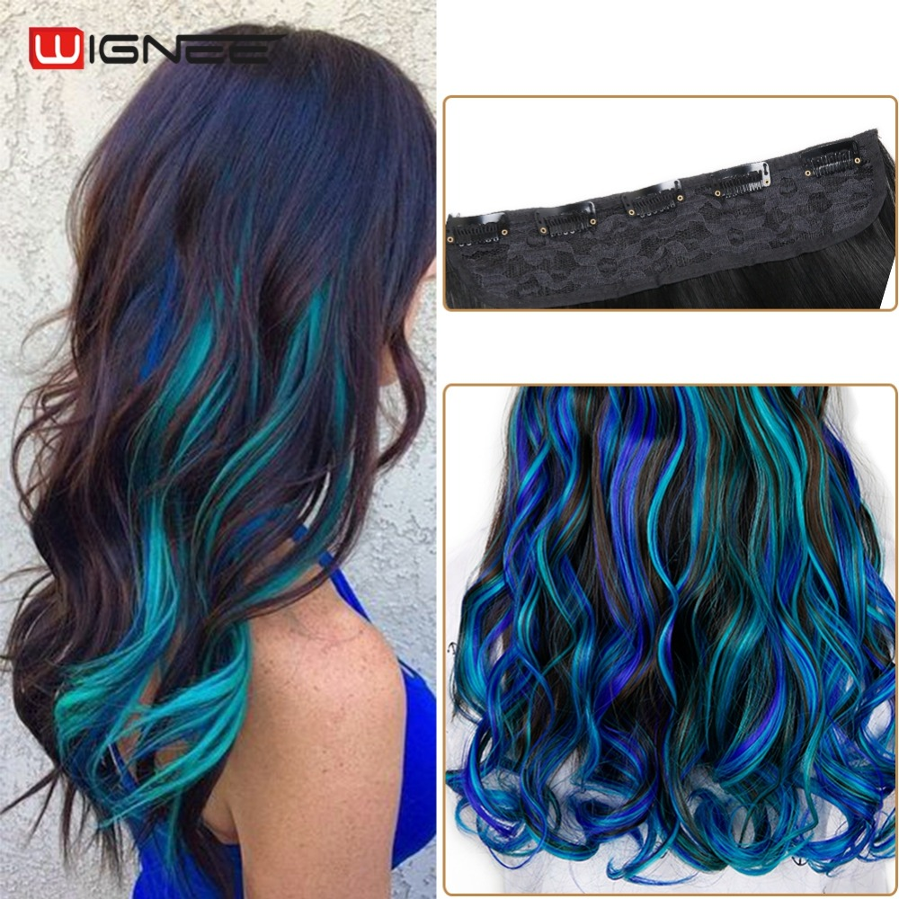 Wignee Long Body Wave Glueless Cosplay Hair 5 Clips In Hair Extensions High Temperature Synthetic Fiber Half  Wig For Women