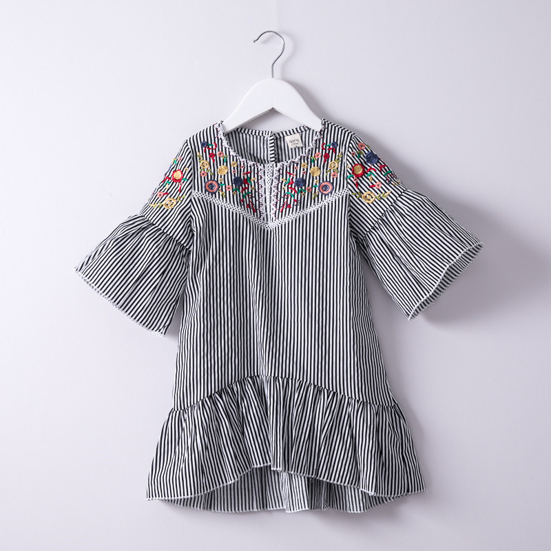 Summer-Hurave-Colorful-Flower-Embroidery-crew-neck-Dress-Children-lantern-Sleeve-Dress-Kids-causal-Baby-Girls
