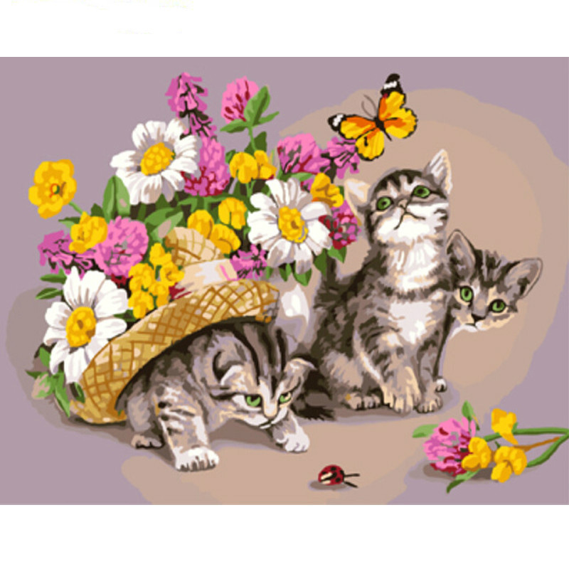0329ZC868 Home wall furniture Decorations DIY number painting children Graffiti Pansy cat painting by numbers 0329zc0401 home wall furniture decorations diy number painting children graffiti lonely snow wolf painting by numbers
