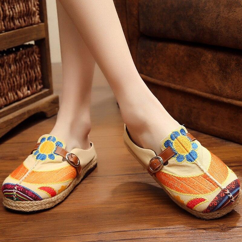Chaussures D'été Beige rouge 2018 National Vieux Bout Rond Solaire Printemps Et Vent Broderie Pékin Fleur Série Zhenzhou vert t0wUF