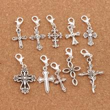 10styles Flower Cross Clasp European Lobster Trigger Clip On Charm Beads 20PCS Antique silver Findings CM28
