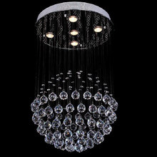 цены Modern Chandelier Luxury K9 Crystal Ball Round Luminaire Decoration Base Luster Pendant Lamp Chandeliers Lights GY-HS9072-5