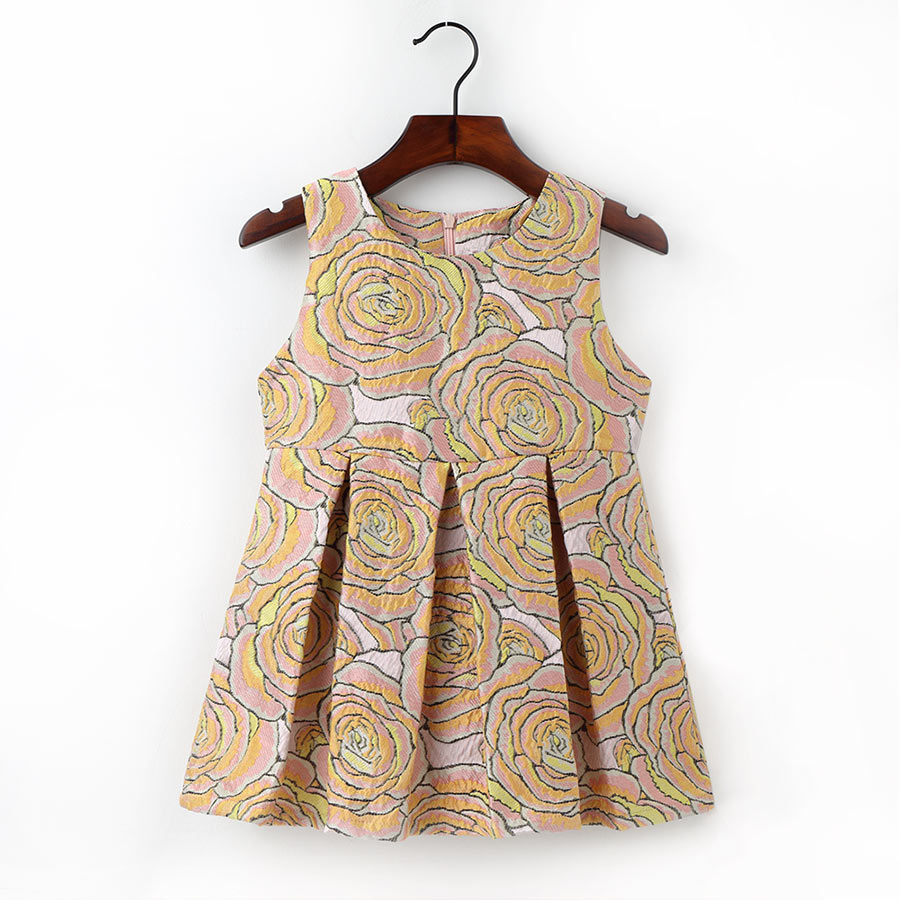 2-6Y Cute Flower Pattern Dress For Girls Kids O Neck Sleeveless Clothing Fashion A Line Dresses 2017 New Style Children Clothes 2016 new summer lovely girls dress kids colorful a line leisure fashion dresses children clothing