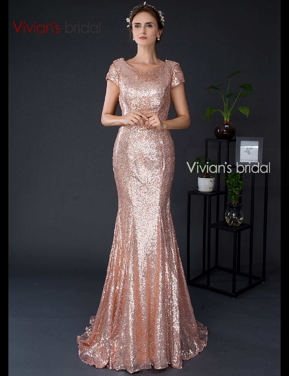 Vivian 39 S Bridal Bridesmaid Dresses Long Short Sleeve Gold