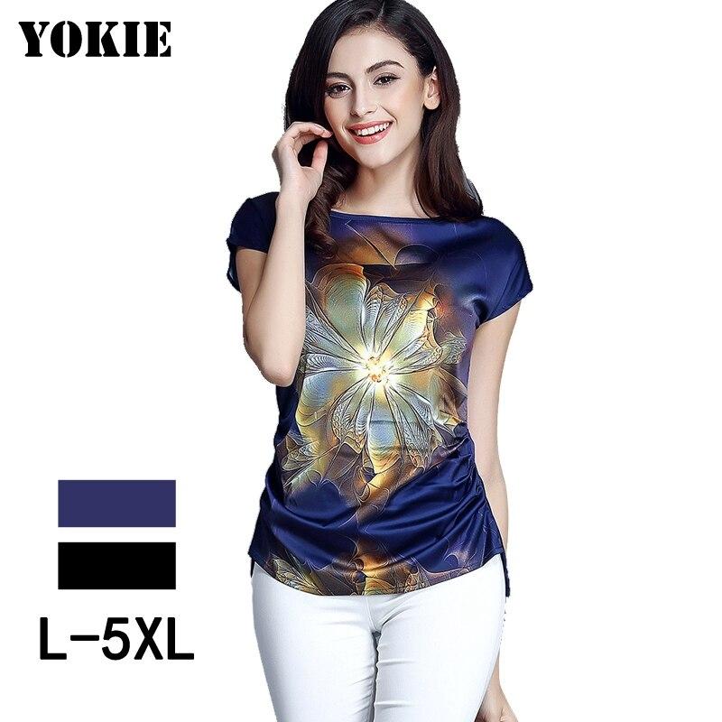 2018 נשים קיץ צמרות וחולצות חולצות מקרית שרוול קצר חולצה חולצת משי שיפון blusa feminina מוצק בתוספת גודל M-5XL