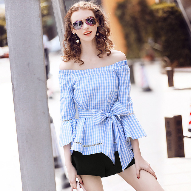 Aliexpress.com  Buy Sexy Off Shoulder Top 2017 Korean Fashion Casual Women Spring Summer Flare ...