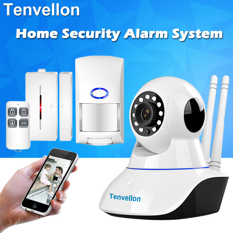 Alarm Systems Security WIFI IP Camera Security System Video Surveillance Camera Wireless Home Alarm System With Sensor Alarm(China)