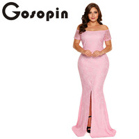 Gosopin New Fashion Women Floral vestidos Elegant Vintage Retro Lace Dress Long Pink Plus Size Off Shoulder Lace Gown LC61602