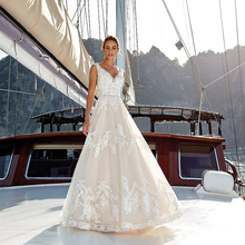 LORIE Beach Wedding Dress A Line Elegant  V Neck Tulle Backless Princess Bride Long Gown Boho Gowns