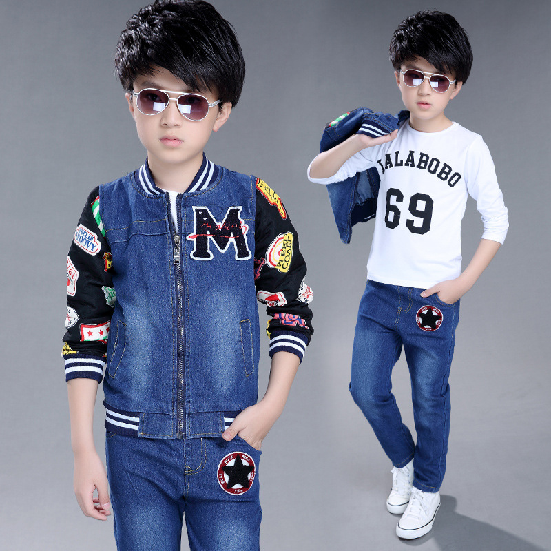 a93e7bf594 New Childrens Sets Big Boy Jeans Coat+pant+long Sleeve T Shirt Sets for Boys  and Girls E ...