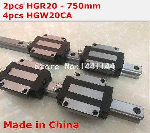 HG linear guide 2pcs HGR20 - 750mm + 4pcs HGW20CA linear block carriage CNC parts салфетки hi gear hg 5585