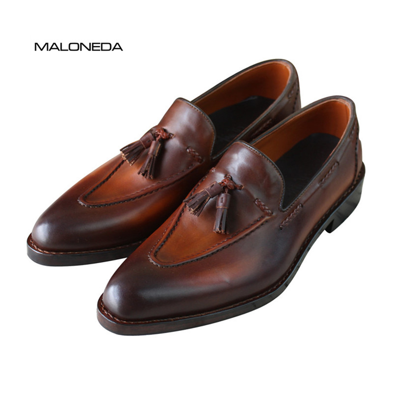 Custom Handmade Classic Casual Tassels Leather Shoes Full Genuine Leather Slip on Loafers Shoes with Goodyear Welted 247 classic leather