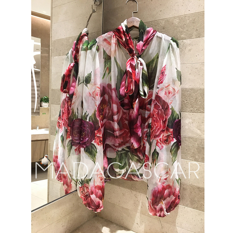 2018 новые женские Цветочные галстук бабочку Пион Роза печати шарф воротник перспектива пузырь рукав с длинным рукавом Мода 100% шелк рубашка