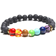 Energy Volcanic Stone Chakra Bracelet Yoga 8mm Natural Beads Chain