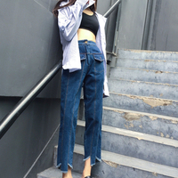DoreenBow New Fashion Spring Autumn Straight Jeans Denim Fabric HIGHT QUALITY Zippers Tassels Deep Blue Women
