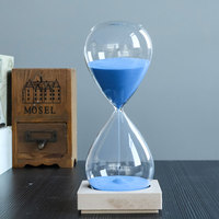 שעוני חול דקה 60 בסיס עץ שעון חול שעון חול זכוכית קריסטל 1 שעה איכות צבע אותיות מזכרות מלאכת חול