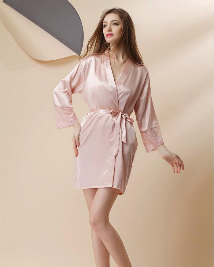 99348effdfb Silk Satin Kimono Robe Long Sleeve Bathrobe Fashion Night Robes ...