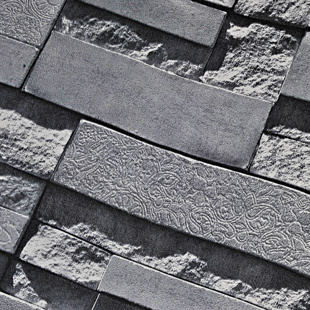 Stone wall paper 3d brick wall wallpaper vinyl for Black 3d brick wallpaper