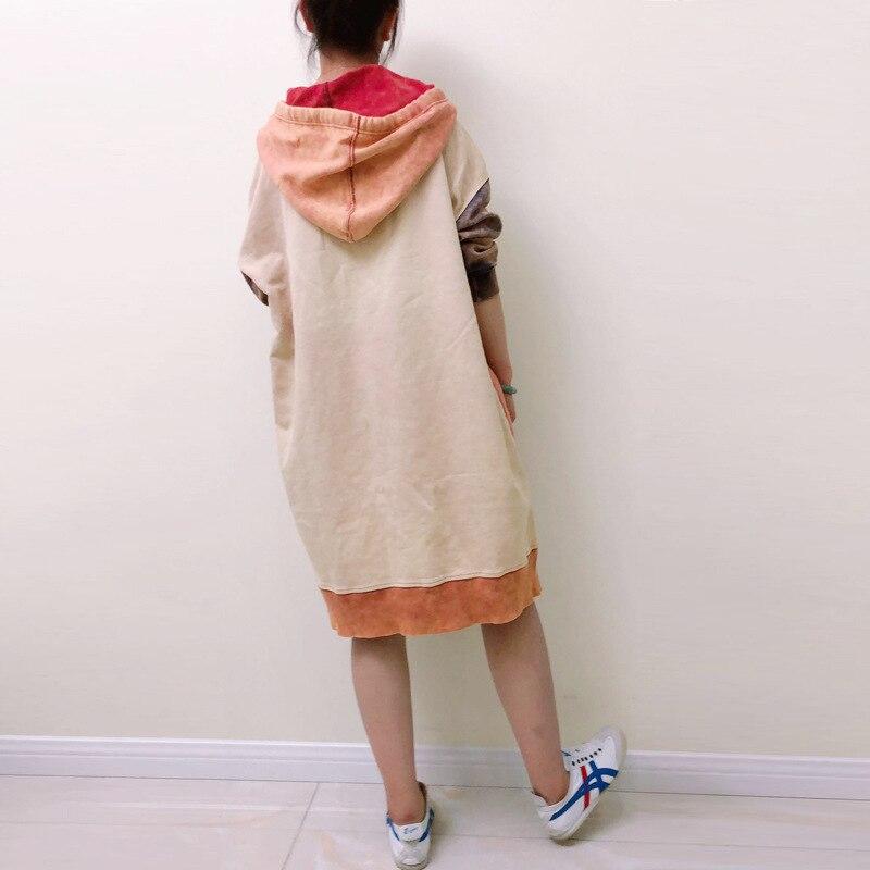 Oversize Robe à capuche japonais Harajuku Patchwork Long Hoodies sweat décontracté tricoté Baggy pulls grande taille rétro Robe - 6