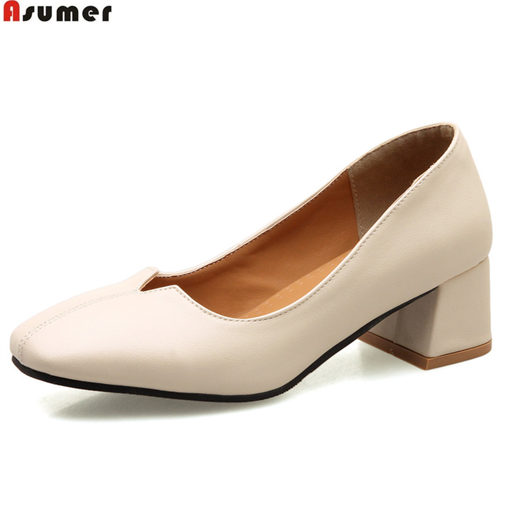 ASUMER black beige fashion spring autumn new 2018 shoes woman square toe shallow casual square women heel med heels shoes asumer beige pink fashion spring autumn shoes woman square toe casual single shoes square heel women high heels shoes