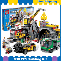 838pcs New City The Mine 02071 Model Building Blocks Assemble Gifts Sets Drill Truck Crane Holiday