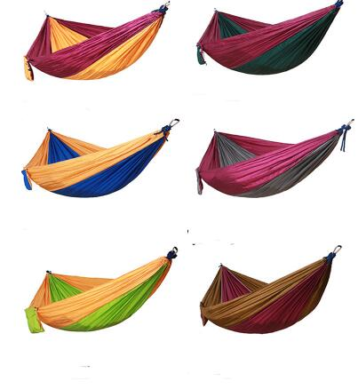 50pcs  Portable Nylon Parachute Double Hammock Garden Outdoor Camping Travel Survival Hammock Sleeping Bed For 2 Person Lin4652