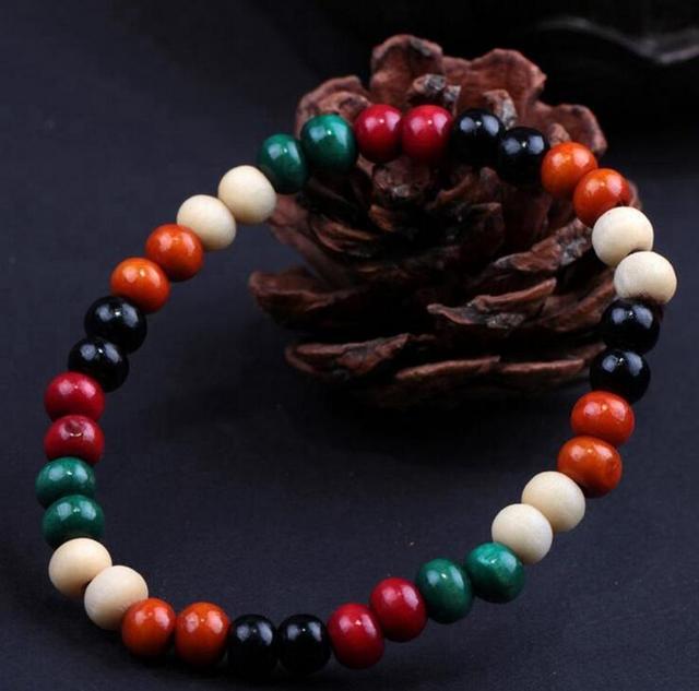 8mm Genuine Colorful Sandalwood Beads Buddha Malas Bracelet Healthy Jewelry Man Wrist Mala
