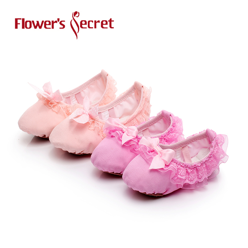 Flowers Secret Ballet dance shoes Girls Children Woman Leather head soft sole Canvas Flat Slippers For Yoga Gym dance shoes