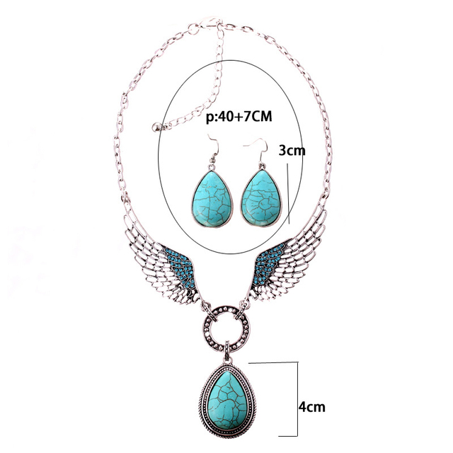Vintage Style Ethnic Jewelry set Antique Silver Color with Blue Stone Wing Vintage Pendant Necklace and Drop Earrings